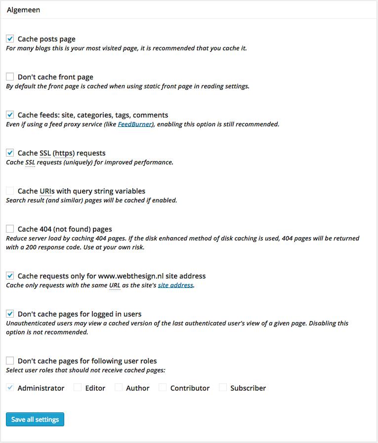 W3 Total Cache pagina cache algemeen
