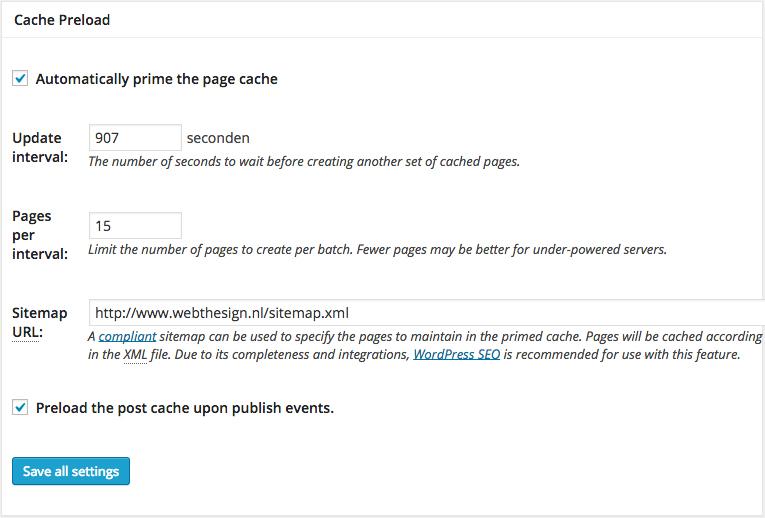 W3 Total Cache pagina cache preload